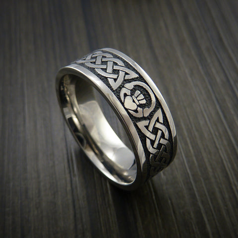 Titanium Celtic Irish Claddagh Ring Carved Hands Clasping Heart Band