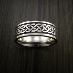 Titanium Celtic Irish Knot Ring Carved Band - Revolution Jewelry  - 2