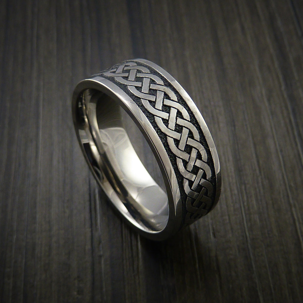 Titanium Celtic Irish Knot Ring Carved Band - Revolution Jewelry  - 1