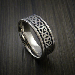 Titanium Celtic Irish Knot Ring Carved Band