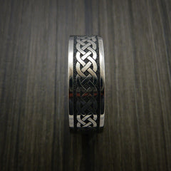 Titanium Celtic Irish Knot Ring Carved Band - Revolution Jewelry  - 3