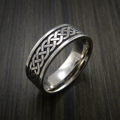 Titanium Celtic Irish Knot Ring Carved Band - Revolution Jewelry  - 4