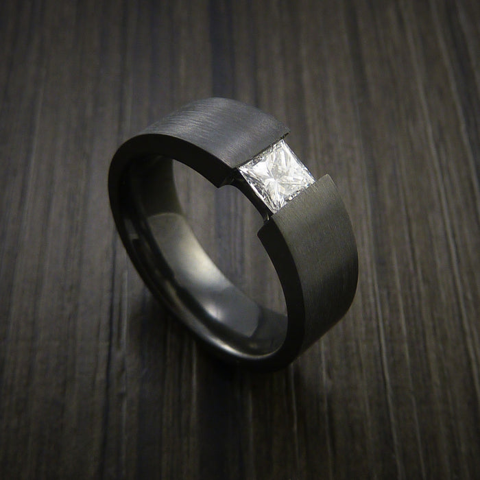 Black Zirconium Ring Tension Setting Band with Princess Cut Moissanite