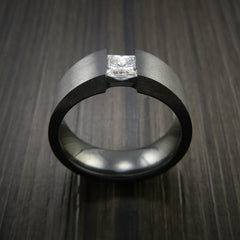 Black Zirconium Ring Tension Setting Band with Princess Cut Moissanite Stone by Revolution Jewelry