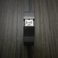Black Zirconium Ring Tension Setting Band with Princess Cut Moissanite Stone - Revolution Jewelry  - 5