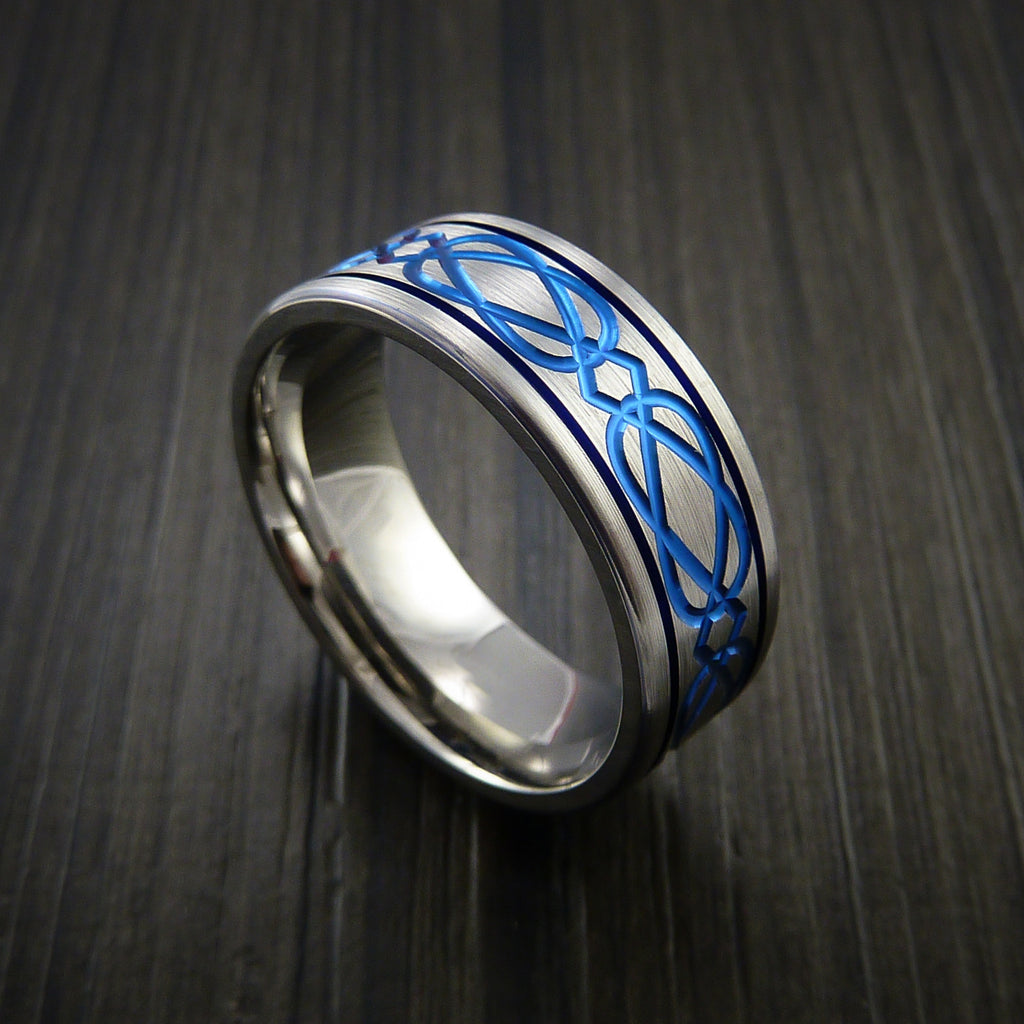 Titanium Celtic Bold Blue Band Wedding Ring Custom Anodized Color Inlay