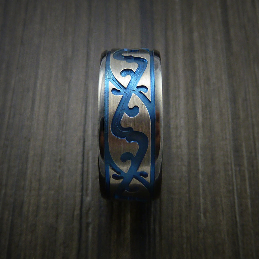 Black Zirconium Celtic Irish Knot Ring Carved Pattern Design Band Any Size