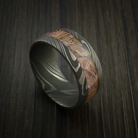 King's Camo Field Shadow and Damascus Steel Ring Acid Finish