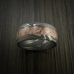 King's Camo Field Shadow and Damascus Steel Ring Acid Finish - Revolution Jewelry  - 2
