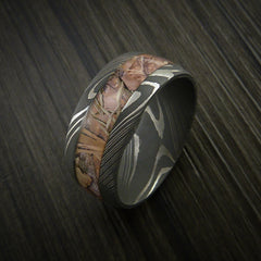King's Camo Field Shadow and Damascus Steel Ring Acid Finish - Revolution Jewelry  - 4