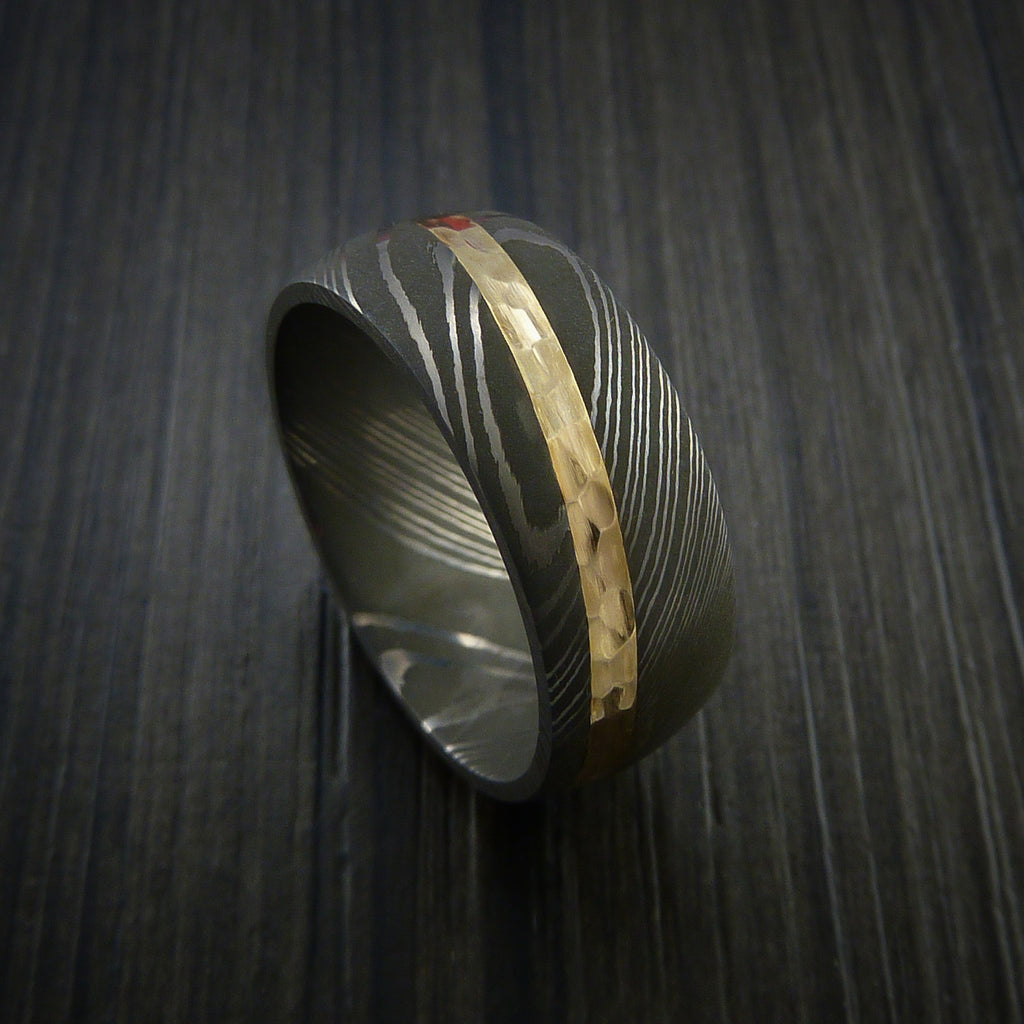 Damascus Steel Diagonal 14K Yellow Gold Ring Wedding Band Custom Made - Revolution Jewelry  - 1