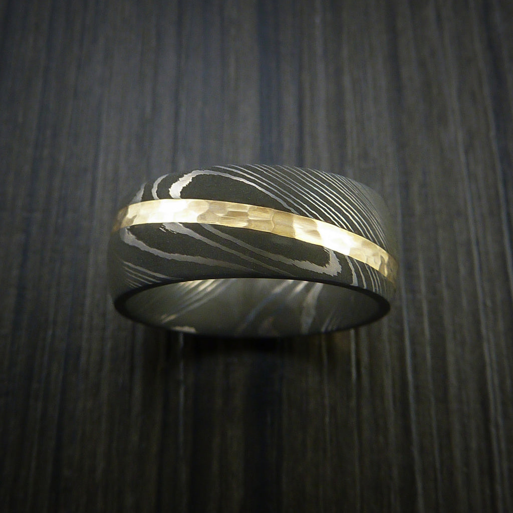 Damascus Steel Diagonal 14K Yellow Gold Ring Wedding Band Custom Made