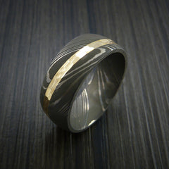 Damascus Steel Diagonal 14K Yellow Gold Ring Wedding Band Custom Made - Revolution Jewelry  - 4