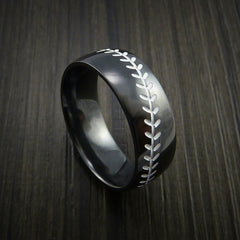 Black Zirconium Baseball Ring with Polish Finish - Revolution Jewelry  - 11