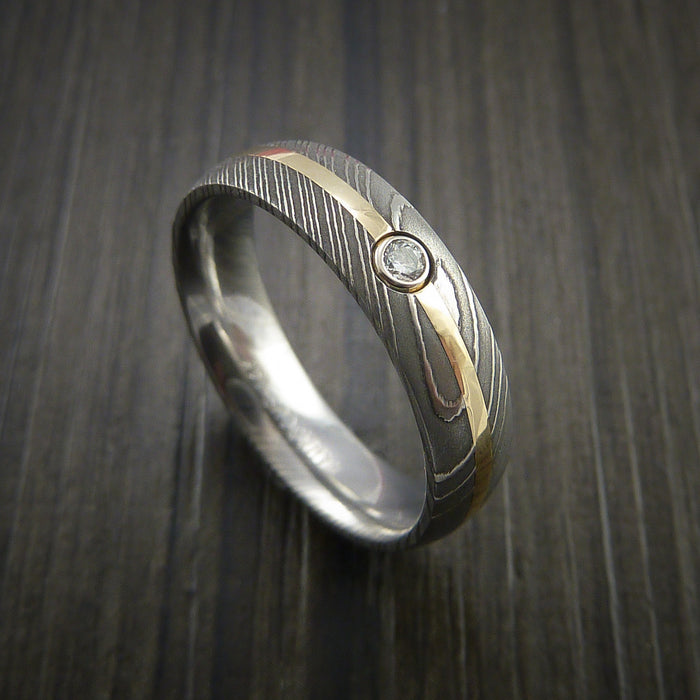 Damascus Steel Ring with 14K Yellow Gold Ring with Diamond Setting Band