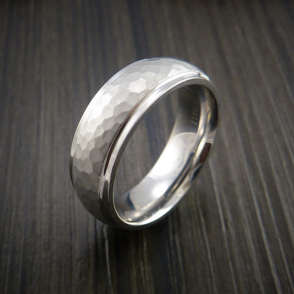 Cobalt Chrome Hammer Finish Wedding Band Engagement Ring Made to Any Size