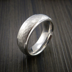 Cobalt Chrome Hammer Finish Wedding Band Engagement Ring Made to Any Size by Revolution Jewelry