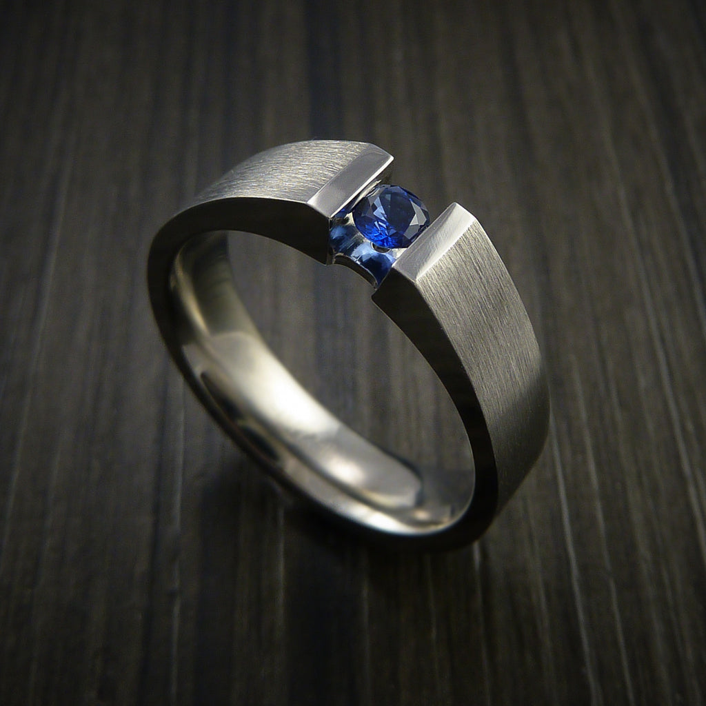 Titanium Ring Tension Set Band with Round Blue Sapphire Stone - Revolution Jewelry  - 1