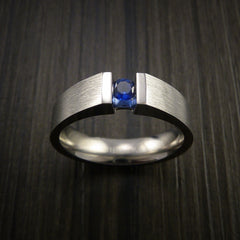 Titanium Ring Tension Set Band with Round Blue Sapphire Stone - Revolution Jewelry  - 3