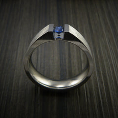 Titanium Ring Tension Set Band with Round Blue Sapphire Stone - Revolution Jewelry  - 5