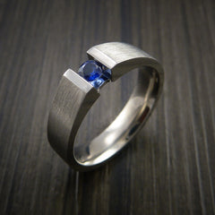 Titanium Ring Tension Set Band with Round Blue Sapphire Stone - Revolution Jewelry  - 6