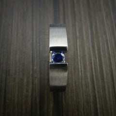 Titanium Ring Tension Set Band with Round Blue Sapphire Stone - Revolution Jewelry  - 7