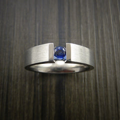 Titanium Ring Tension Set Band with Round Blue Sapphire Stone - Revolution Jewelry  - 2