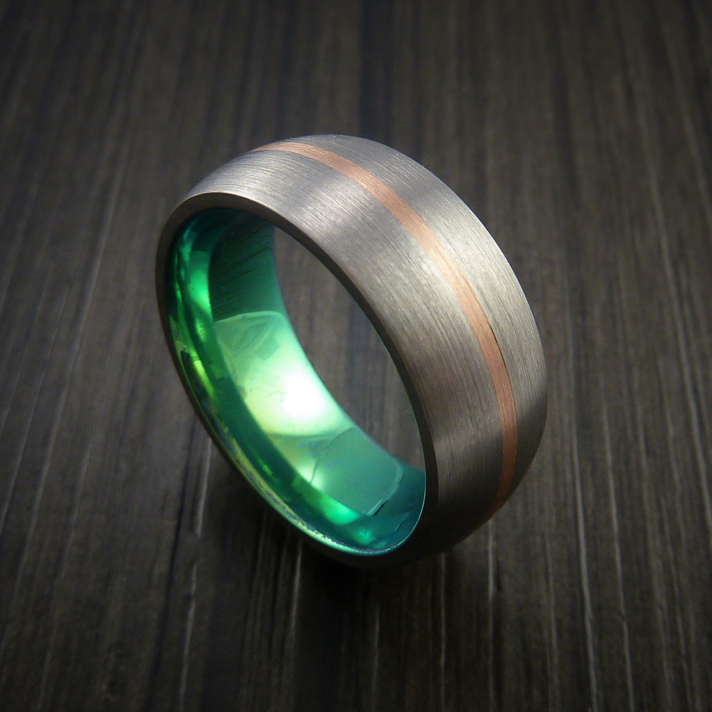 Rose Gold and Titanium Ring with Green Anodized Center Custom Made Band Any Finish and Sizing - Revolution Jewelry  - 1