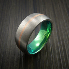 Rose Gold and Titanium Ring with Green Anodized Center Custom Made Band Any Finish and Sizing - Revolution Jewelry  - 3
