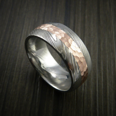 Damascus Steel 14K Rose Gold Ring Wedding Band Custom Made Hammer Finish