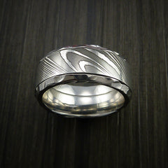 Damascus Steel in Cobalt Chrome Wedding Band Custom Made - Revolution Jewelry  - 2