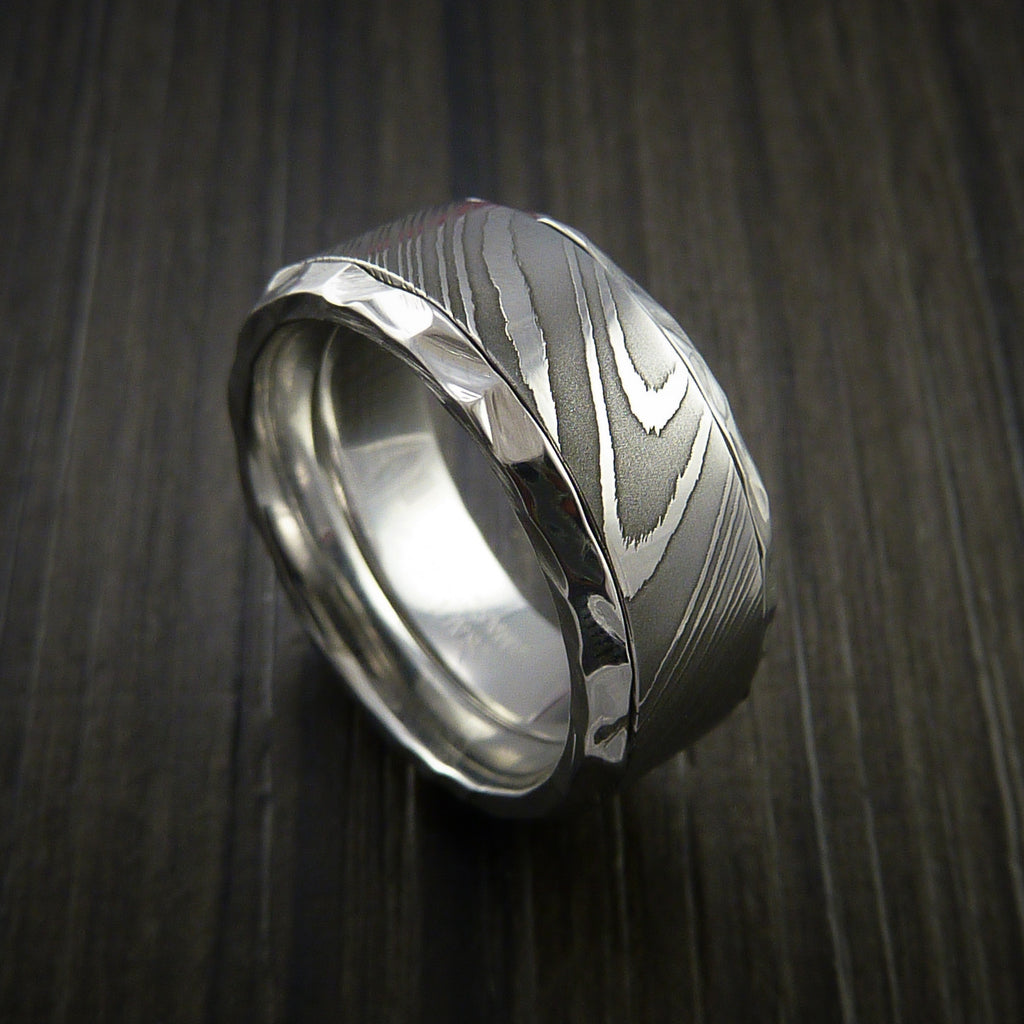 Damascus Steel in Cobalt Chrome Wedding Band Custom Made