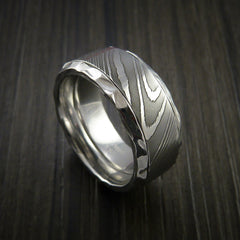 Damascus Steel in Cobalt Chrome Wedding Band Custom Made - Revolution Jewelry  - 1