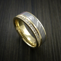 Yellow Gold Eternity Band, Damascus Steel Ring with 30+ Moissanite Stones - Revolution Jewelry  - 1