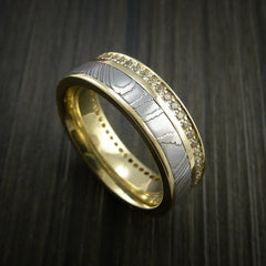 Yellow Gold Eternity Band, Damascus Steel Ring with 30+ Moissanite Stones - Revolution Jewelry  - 2
