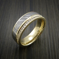 Yellow Gold Eternity Band, Damascus Steel Ring with 30+ Moissanite Stones - Revolution Jewelry  - 4