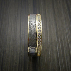 Yellow Gold Eternity Band, Damascus Steel Ring with 30+ Moissanite Stones