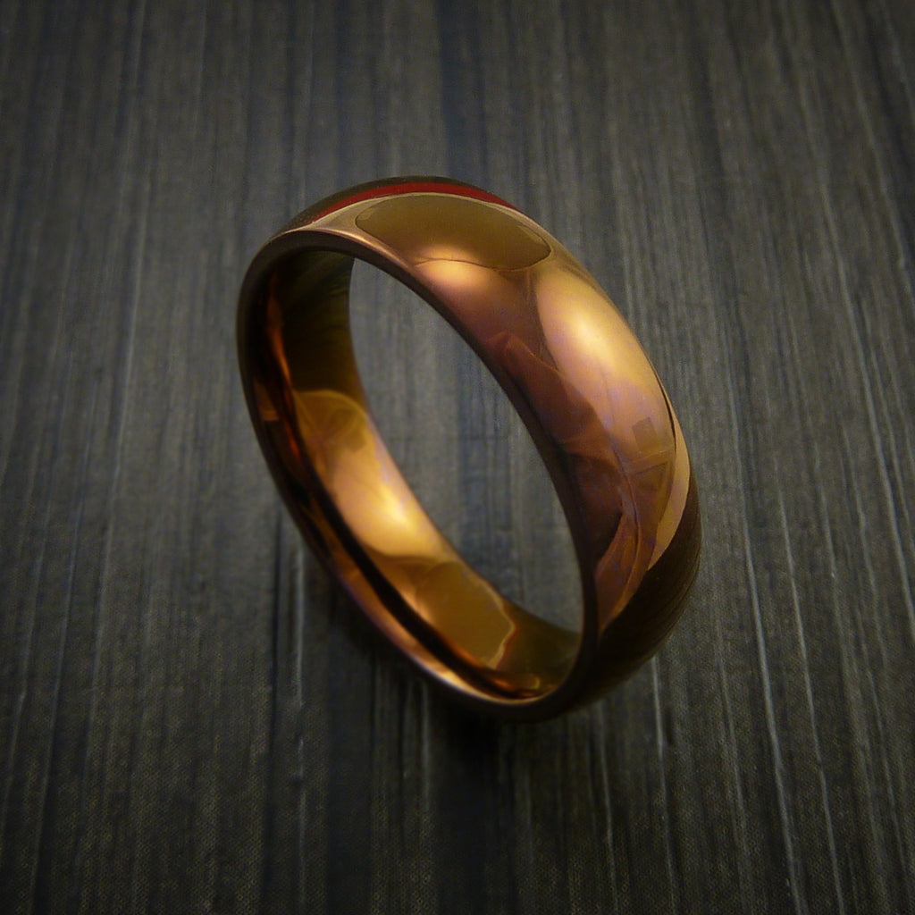 Titanium and Bronze Band Custom Made Ring to Any Sizing and Finish 3-22 - Revolution Jewelry  - 1