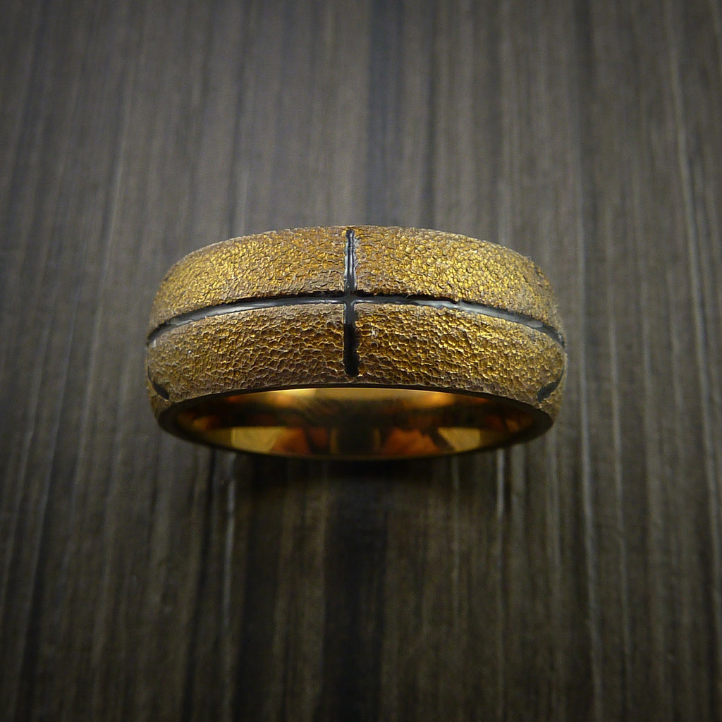 Titanium Basketball Inspired Ring Anodized Bronze Band