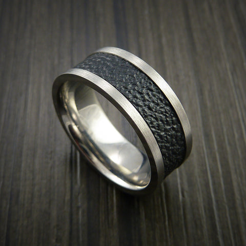 Leather and Titanium Ring Inlaid in Textured Camera Leather