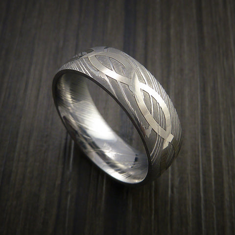 Damascus Steel 14K White Gold Celtic Knot Ring Infinity Design Wedding Band
