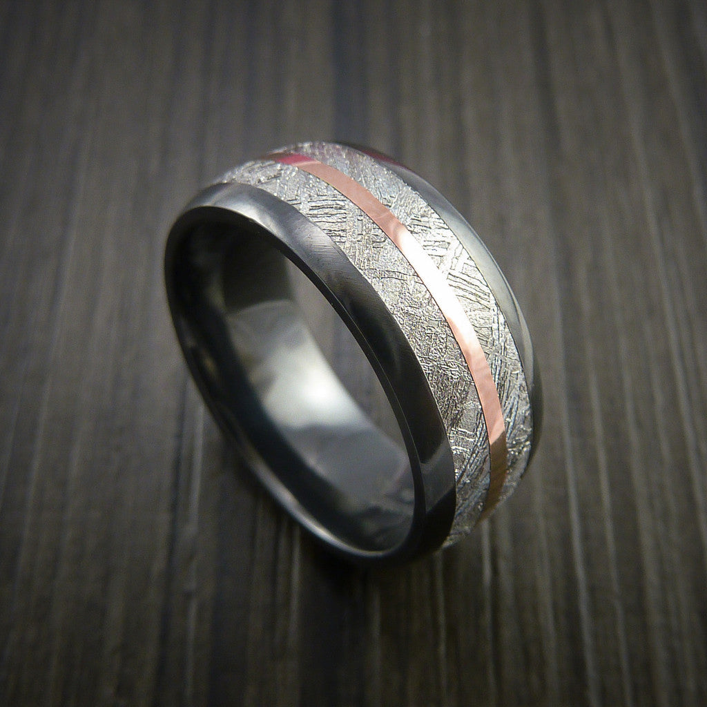Gibeon Meteorite in Black Zirconium Band with 14K Rose Gold Ring - Revolution Jewelry  - 1