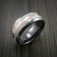 Gibeon Meteorite in Black Zirconium Band with 14K Rose Gold Ring - Revolution Jewelry  - 4