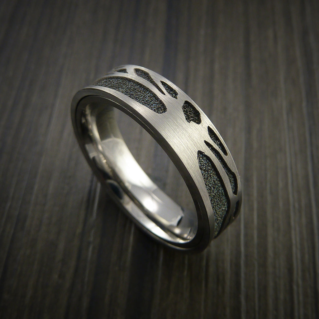 Titanium Spinner Tree Ring with Textured Background - Revolution Jewelry  - 1