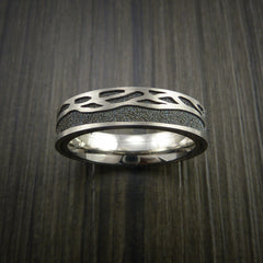 Titanium Spinner Tree Ring with Textured Background - Revolution Jewelry  - 3