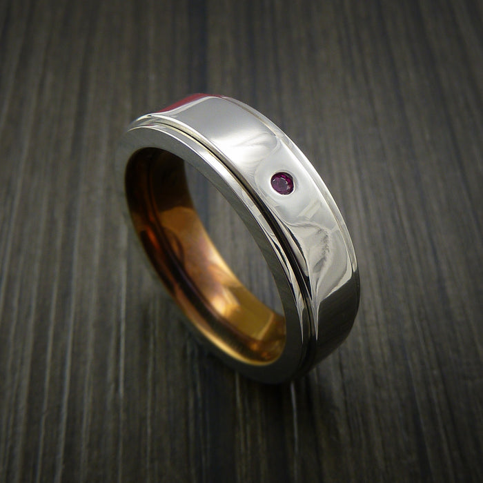 Genuine Ruby and Emareld Titanium Spinner with Anodized Sleeve Style Custom Made Ring