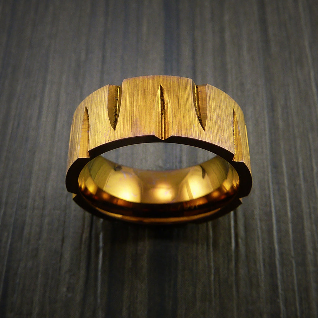 Titanium Wedge Cut Wedding Band with Bronze Anodizing Ring Made to Any Size