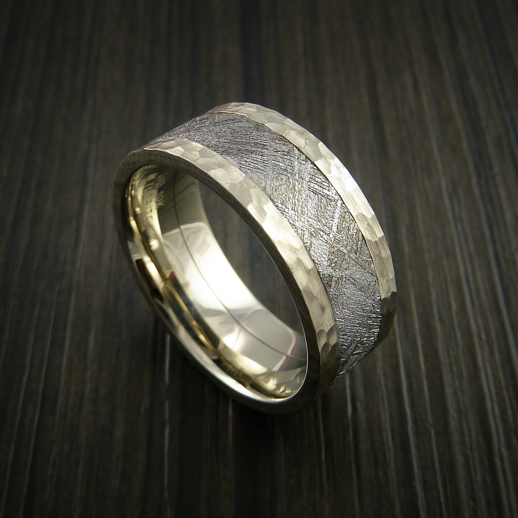 Gibeon Meteorite in 14K White Gold Wedding Band - Revolution Jewelry  - 1