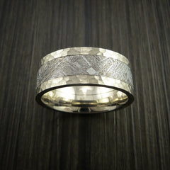 Gibeon Meteorite in 14K White Gold Wedding Band - Revolution Jewelry  - 2
