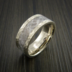 Gibeon Meteorite in 14K White Gold Wedding Band - Revolution Jewelry  - 3